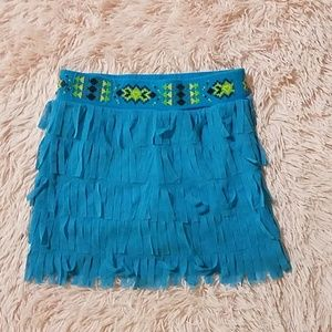 Girls Justice blue fringe skirt size 10